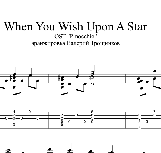 When You Wish Upon A Star. Ноты и табы для гитары