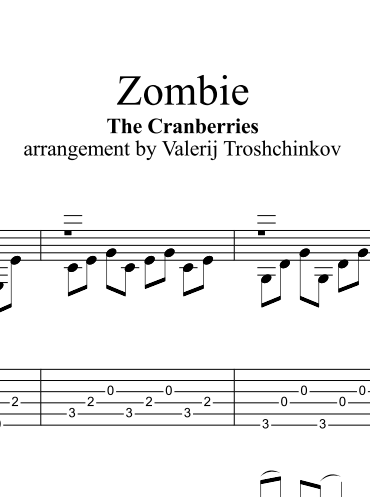 Zombie - Cranberries. Sheet music and tabs for guitar