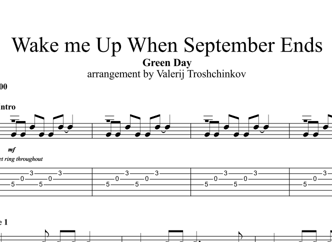Wake me Up When September Ends. Sheet music and tabs fo