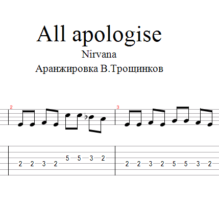 All apologize (Nirvana) Notes and tabs for guitar.