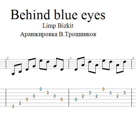 Behind blue eyes -Limp Bizkit.Notes and tabs for guitar
