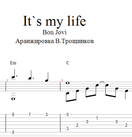 It`s my life - Bon Jovi. Notes & tabs for guitar