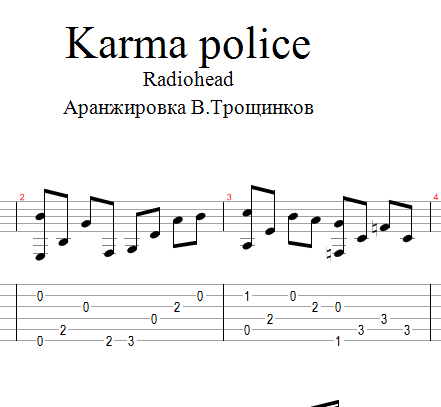 Buy Karma Police Radioheadtes Tabs For Guitar And Download