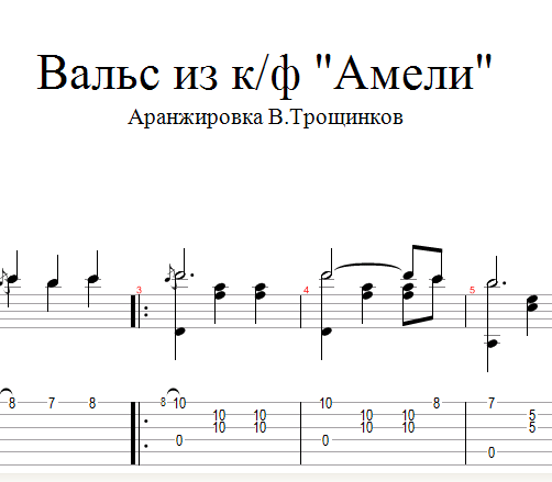 "Waltz - OST ""Amelie"" Notes & tabs for guitar"