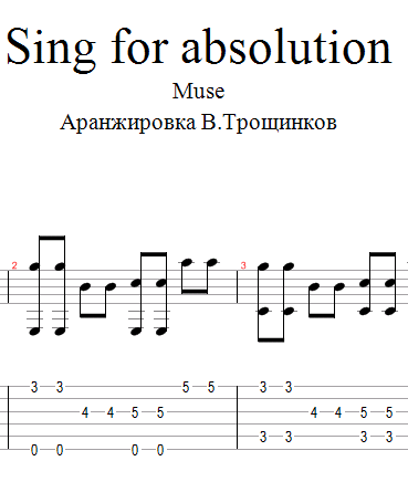 Sing for absolution - Muse. Notes & tabs for guitar