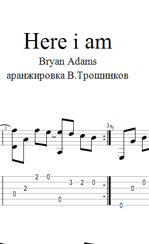 Here i am - Bryan Adams. Ноты, табы и Gp для гитары