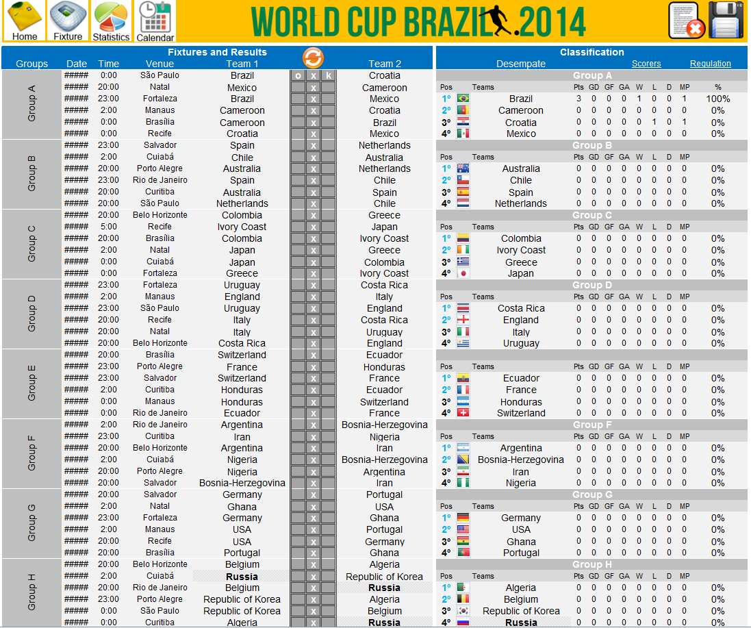 Buy Schedule World Cup Brazil 2014 and download