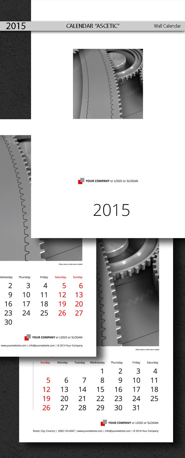 Calendar Template Ascetic 2015 (2014)