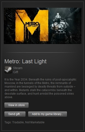 Metro: Last Light (Steam Gift, Region Free) + ПОДАРОК