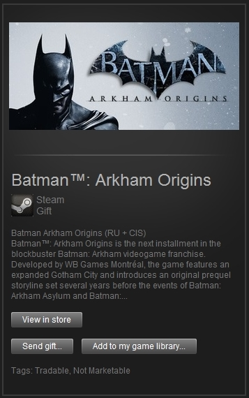 Batman: Arkham Origins (Steam, Only RU&CIS) + ПОДАРОК