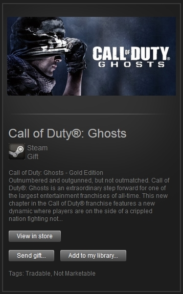Call of Duty Ghosts Gold (Steam, Region Free) + PRESENT