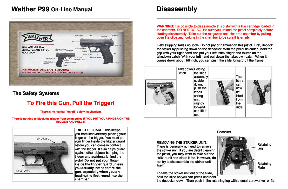 Pistol Walther P-99 Manual