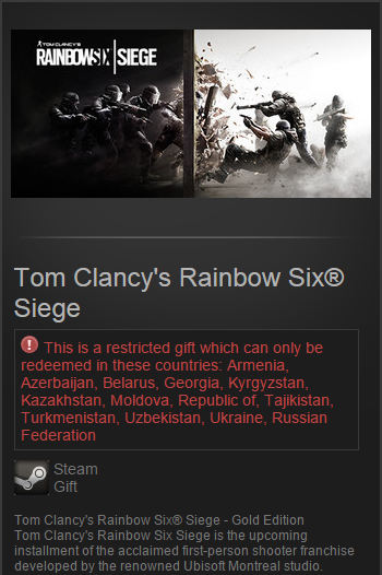 Tom Clancy´s Rainbow Six® Siege Gold Edition Steam Gift