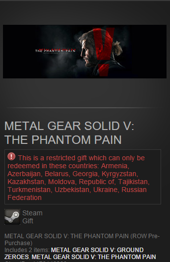 METAL GEAR SOLID V: THE PHANTOM PAIN Steam gift  RU&CIS