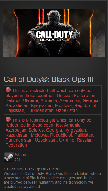 Call of Duty: Black Ops III 3 (Steam Gift/RU&CIS)