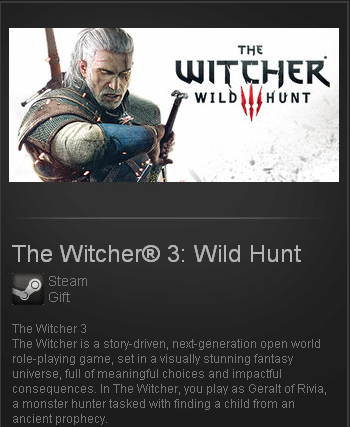 Witcher 3 (Steam Gift / ROW / Region Free)