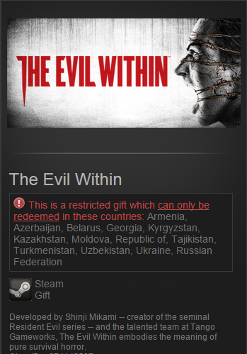 The Evil Within (Steam Gift / Region Free / VPN *)