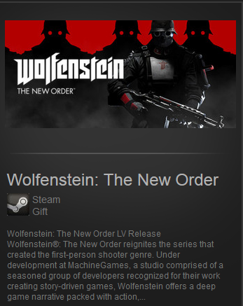 Wolfenstein: The New Order Steam Gift / Region Free LV