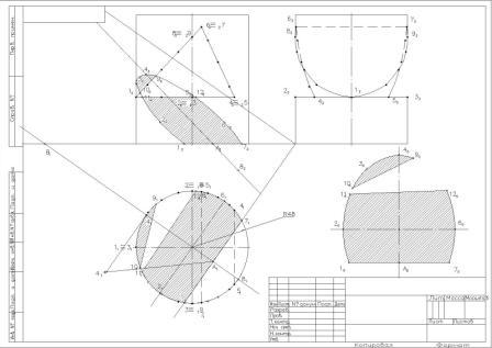 drawing cylinder with cut and the cutting plane