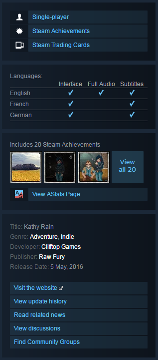 Kathy Rain (Steam KEY / ROW / Region Free / Global)