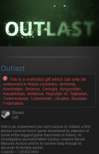 Outlast (Steam gift / RU/CIS)