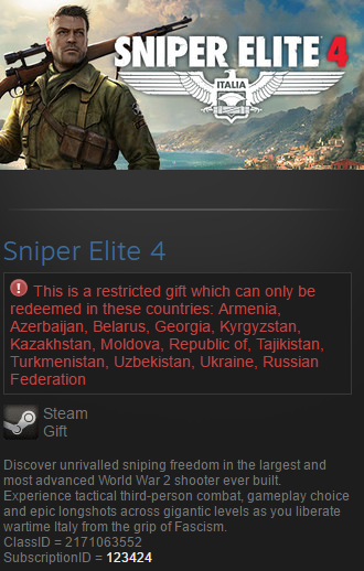 Sniper Elite 4 (Steam gift / RU/CIS)