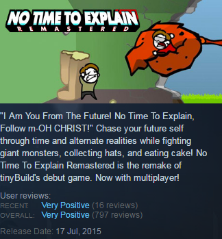 No Time To Explain Remastered (Steam KEY / Region free)