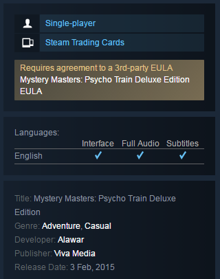 Mystery Masters: Psycho Train Deluxe (Steam KEY / Free)
