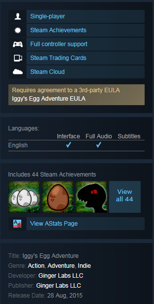 Iggy´s Egg Adventure (Steam KEY / ROW / Region free)