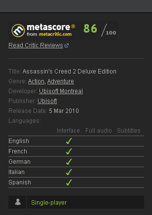 Assassins Creed 2 II: Deluxe (Steam Gift / Region free)