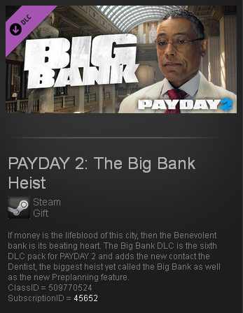 PAYDAY 2: The Big Bank Heist (Steam gift / ROW)