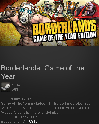 Borderlands: Game of the Year / GOTY (Steam gift / ROW)