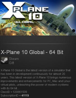 X-Plane 10 Global - 64 Bit (Steam gift / Region free)