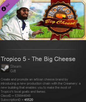 Tropico 5 - The Big Cheese DLC(Steam gift/ Region free)