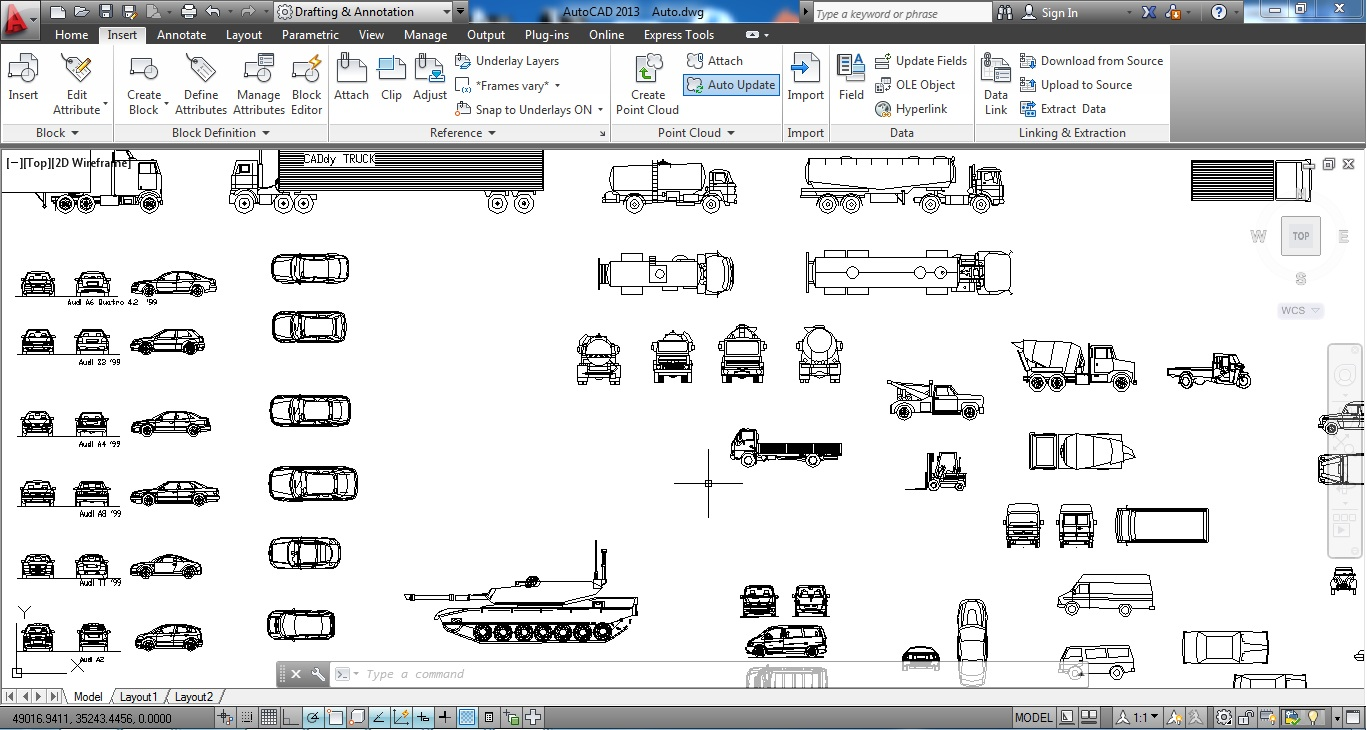 A huge collection of cars for AutoCad