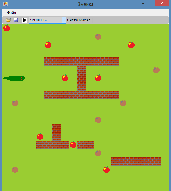 Course Programming in C #. Game Snake.