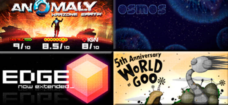 World of Goo+Anomaly: Warzone Earth+EDGE+Osmos (Steam)