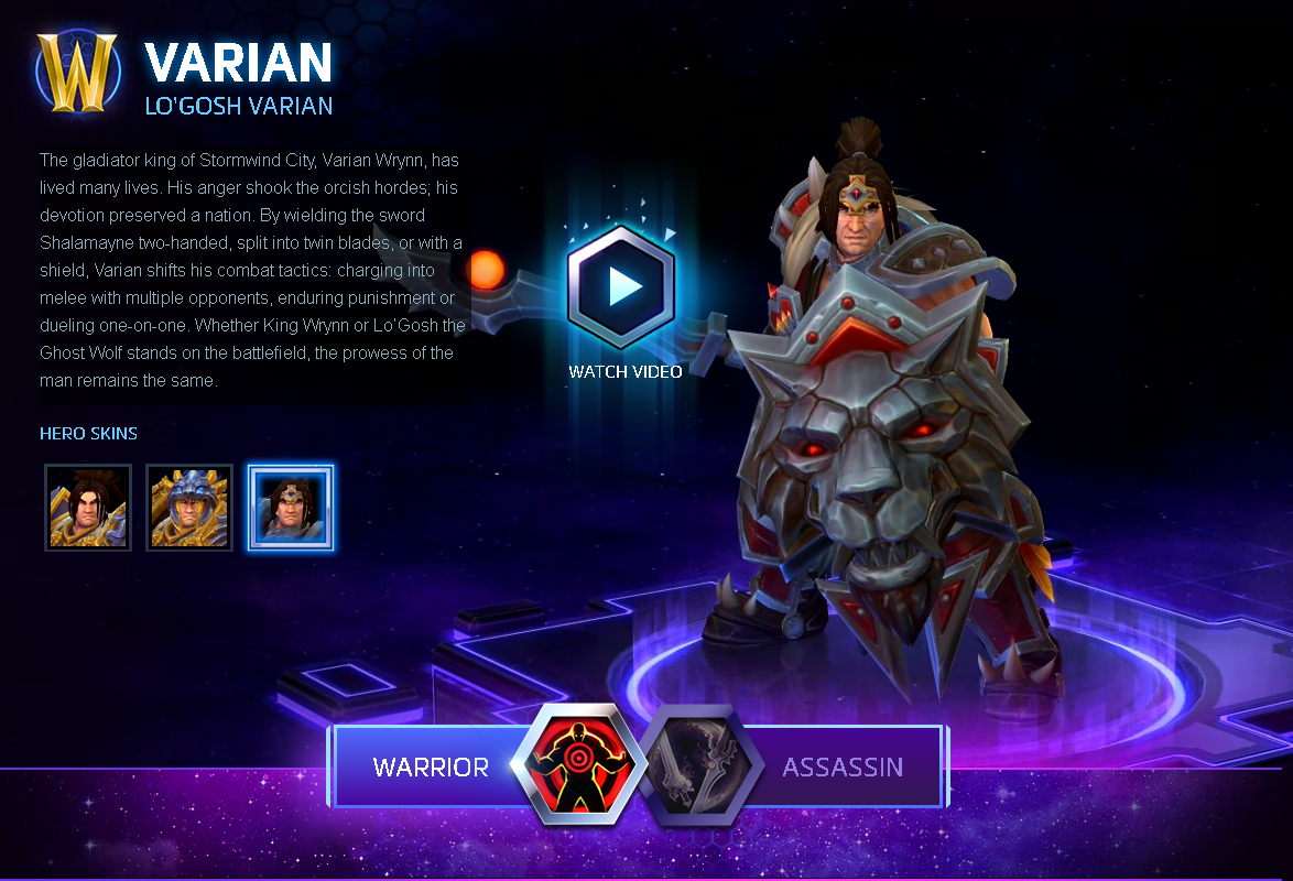 Heroes of the Storm Varian Hero + Lo´Gosh Skin