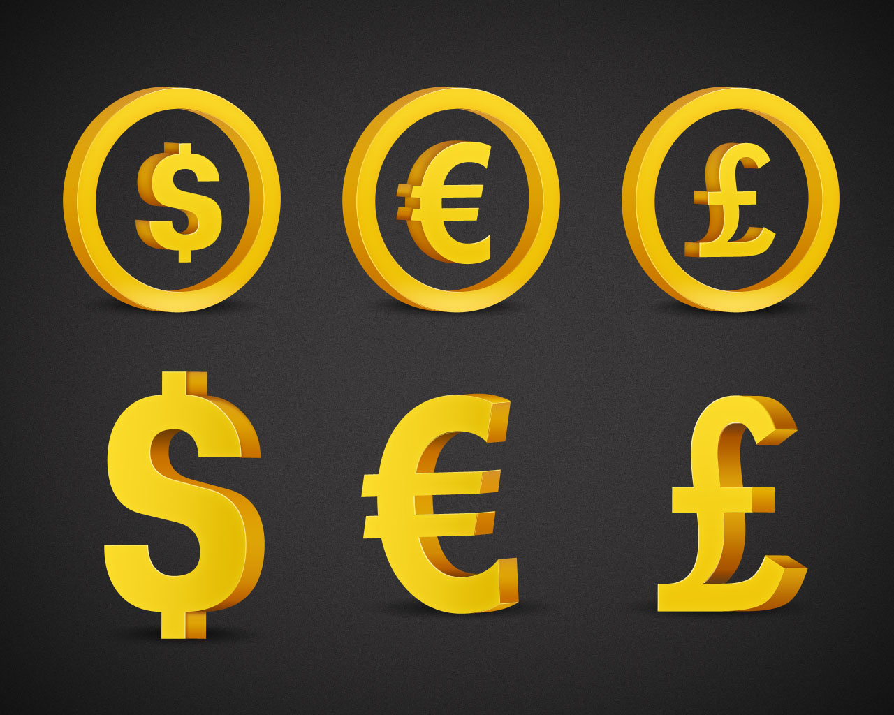 Currency 3D icons in PSD format