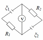 2. The scheme to task 47. R1 = R2 = 100 ohms. The voltm