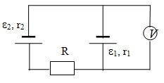 27. Find the voltage which shows a voltmeter included i