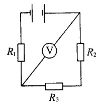 13. Figure R1 = R2 = R3 = 100 ohms. Voltmeter shows UV