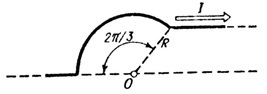22. On an infinitely long wire, bent as shown in Fig.,