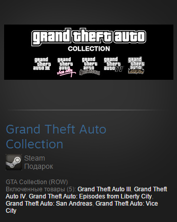 Grand Theft Auto Collection ( Steam Row )