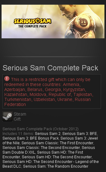 Serious Sam Complete Pack STEAM GIFT RU/CIS