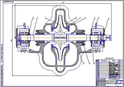 Drawing of the crude-oil trunk pump 6 LPN 24 (section)