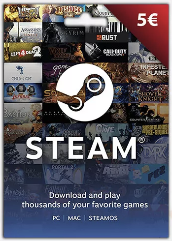 STEAM WALLET GIFT CARD €5 (Euro) | GLOBAL