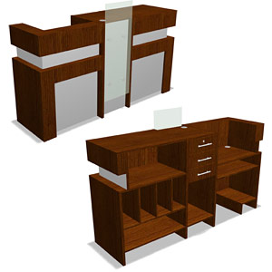 3D models in AutoCAD reception receptionist