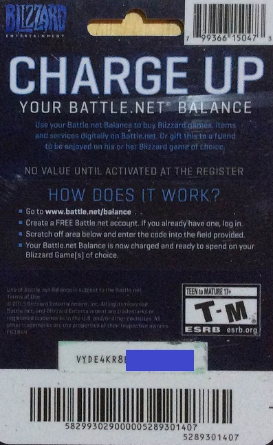 BATTLE.NET 20 USD GIFT CARD (PHOTO) DISCOUNTS