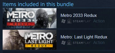 Metro 2033 Redux + Last Light Redux (Steam / ROW)
